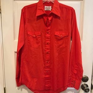 Vtg Wrangler Red Jewel Snap Button Shirt 16x35